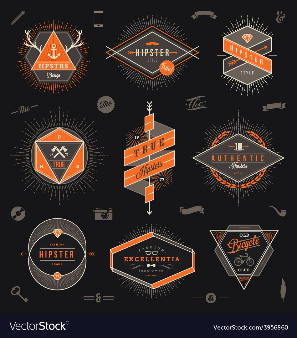 Set of hipster trendy emblems labels and sign vector | Price: 1 Credit (USD $1)