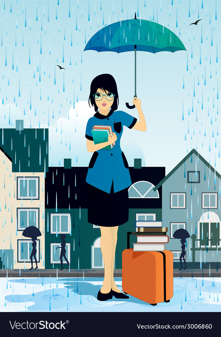 Woman holding an umbrella vector | Price: 1 Credit (USD $1)