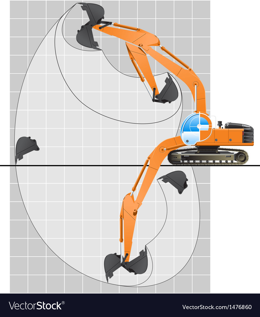 Working range of an excavator vector | Price: 1 Credit (USD $1)
