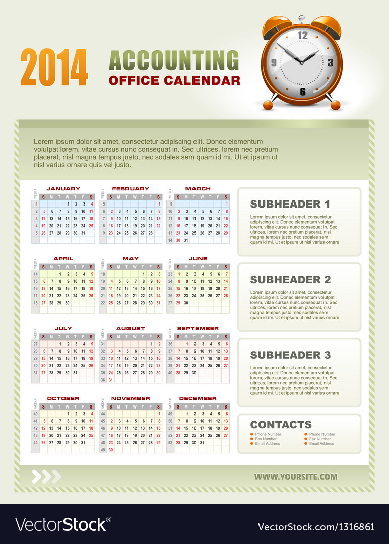 2014 accounting office calendar vector | Price: 3 Credit (USD $3)