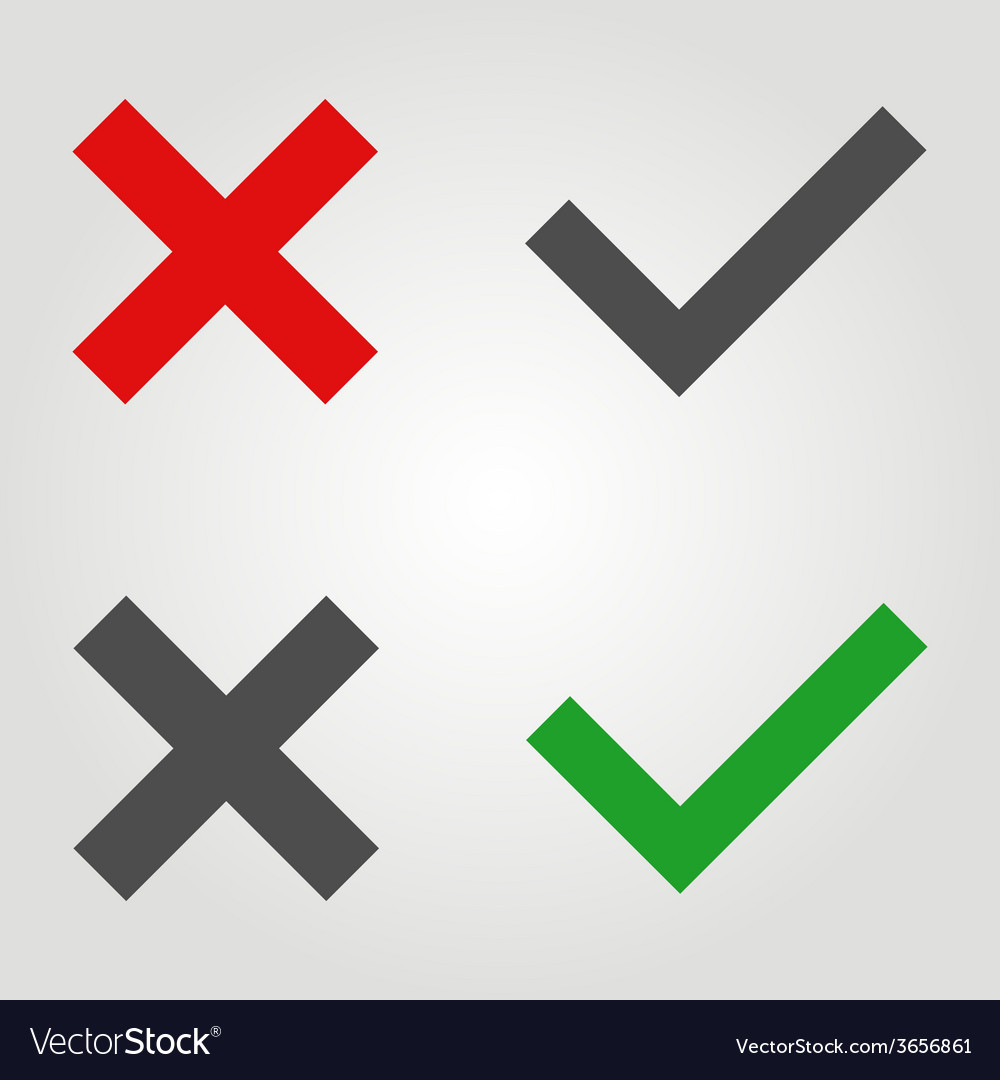 Approved and rejected icon in flat style vector | Price: 1 Credit (USD $1)