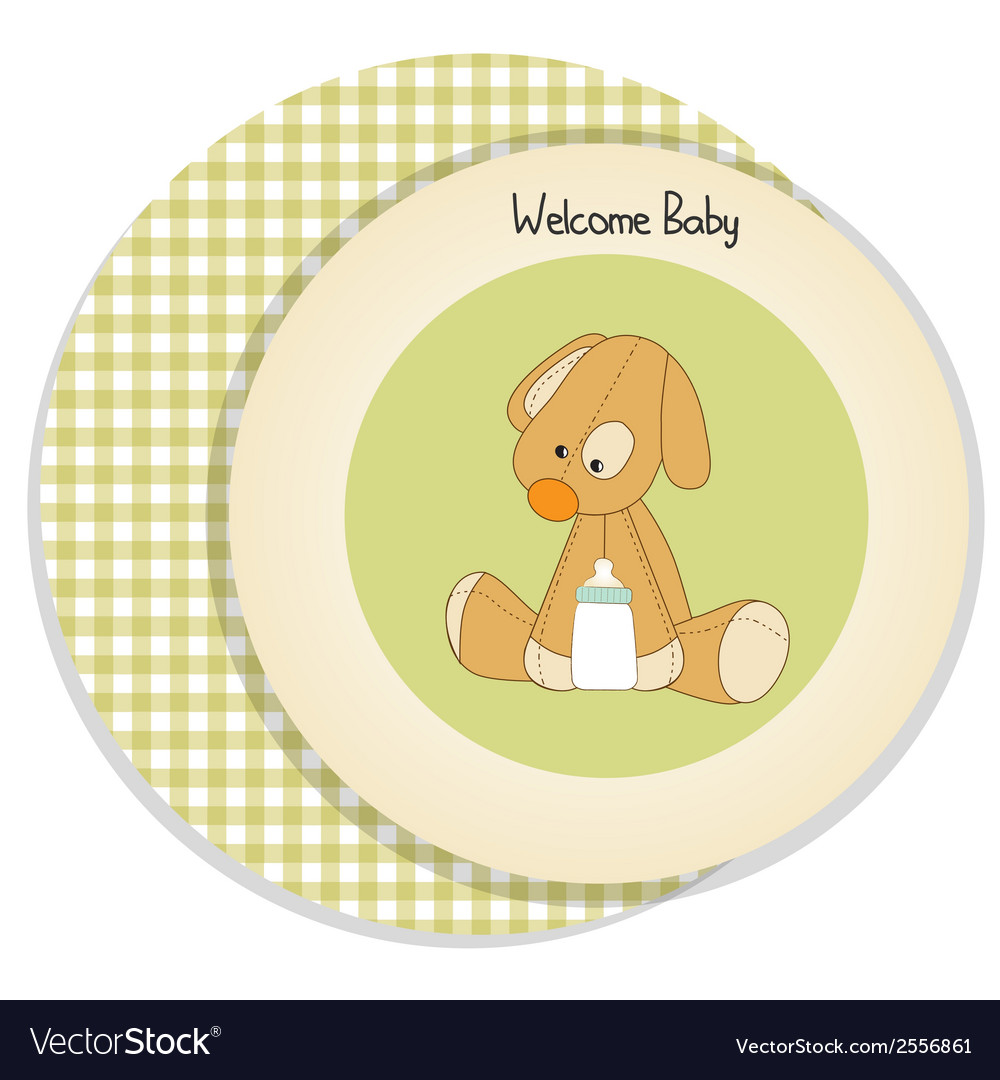 Baby shower card with puppy vector | Price: 1 Credit (USD $1)