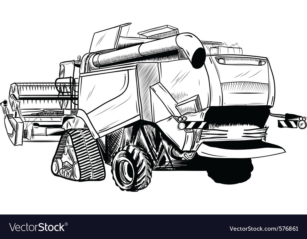 Black sketch of big combine vector | Price: 1 Credit (USD $1)