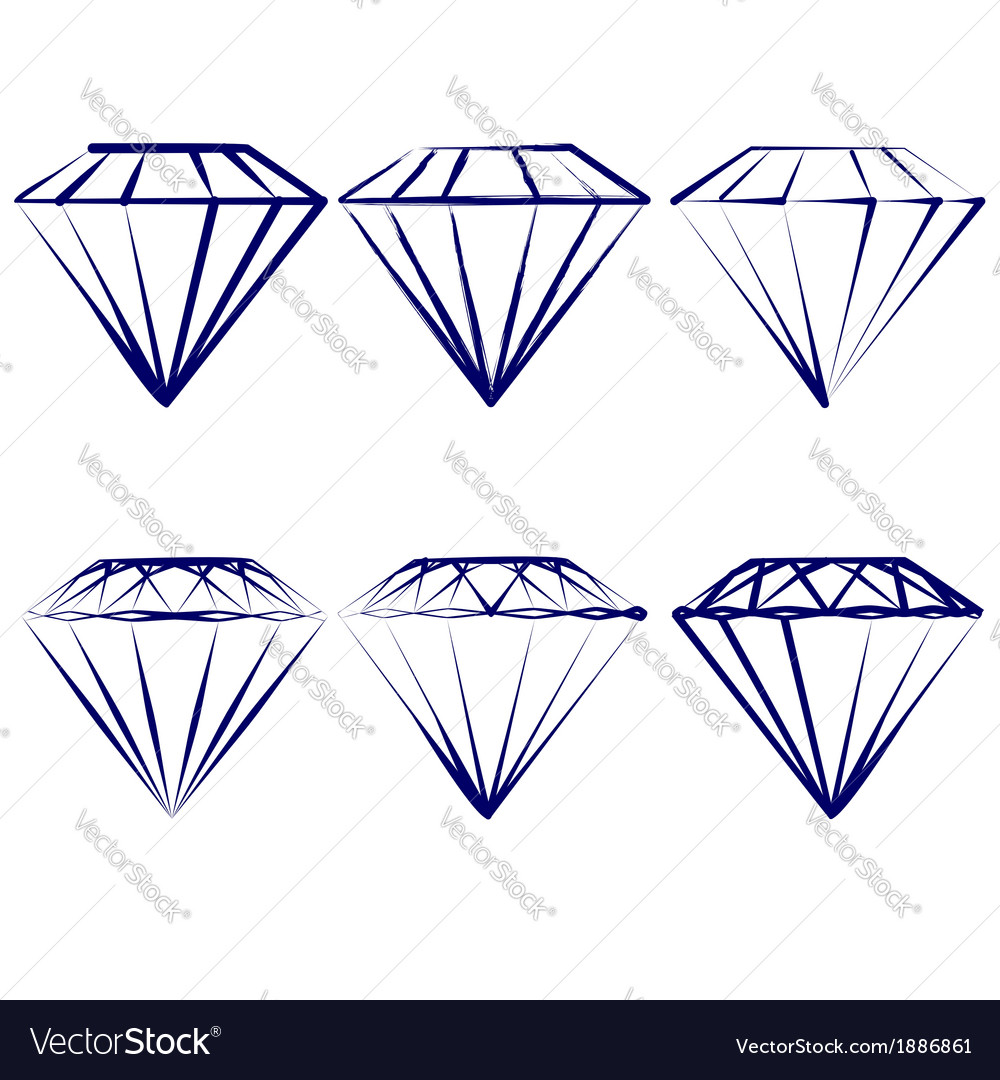 Diamond symbols set vector | Price: 1 Credit (USD $1)