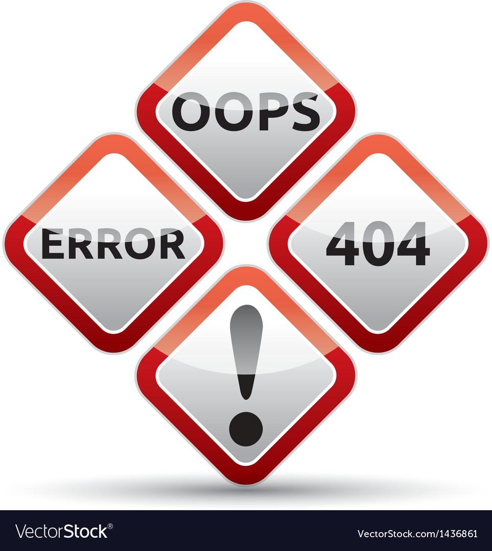 Error 404 warning sign vector | Price: 1 Credit (USD $1)