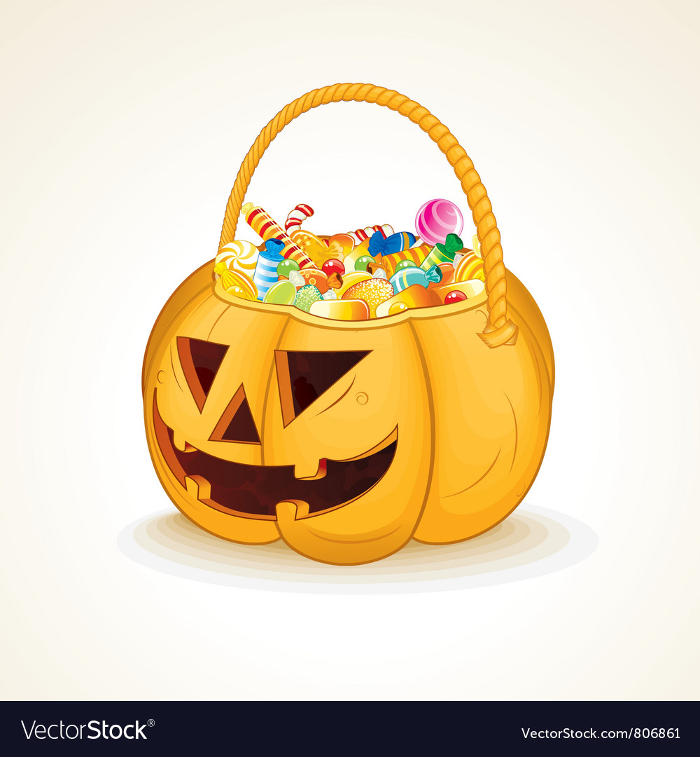 Halloween pumpkin with candies vector | Price: 3 Credit (USD $3)