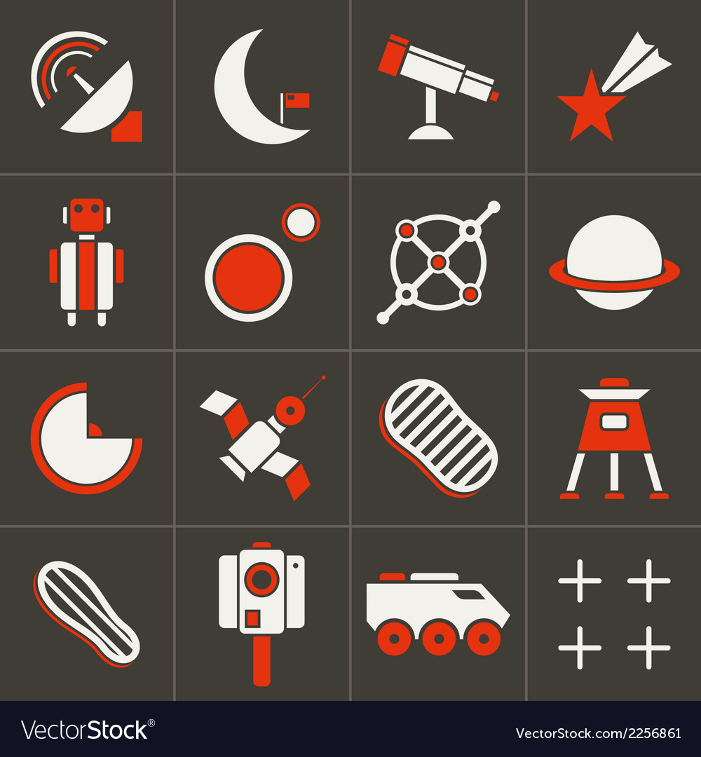 Icons space in flat style color set 2 vector | Price: 1 Credit (USD $1)