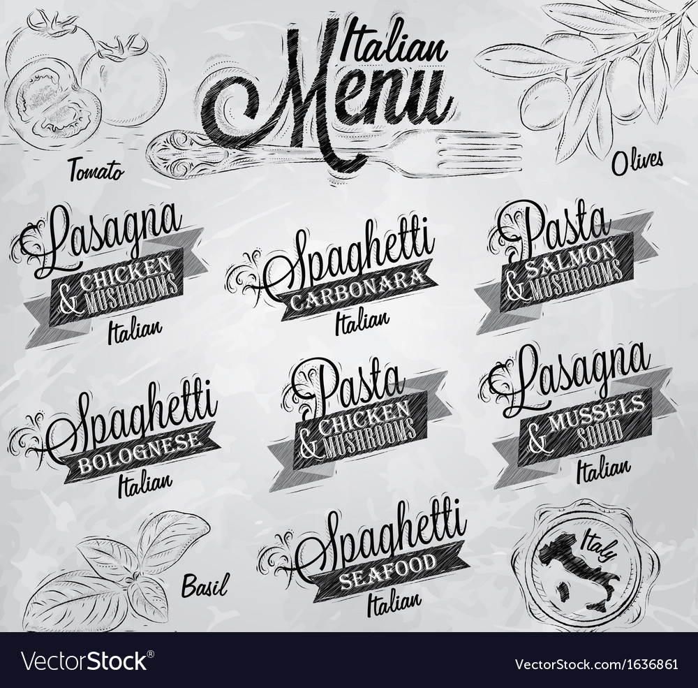 Menu italian coal vector | Price: 1 Credit (USD $1)
