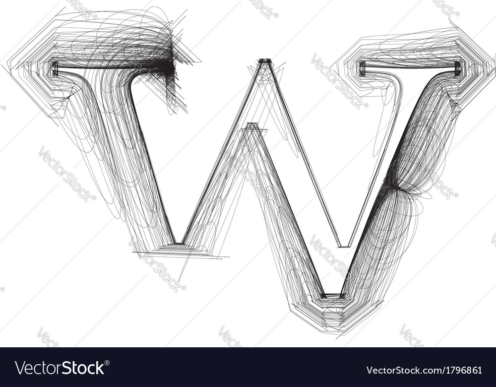 Sketch font letter w vector | Price: 1 Credit (USD $1)