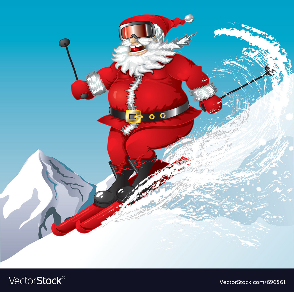 Skiing santa vector | Price: 3 Credit (USD $3)