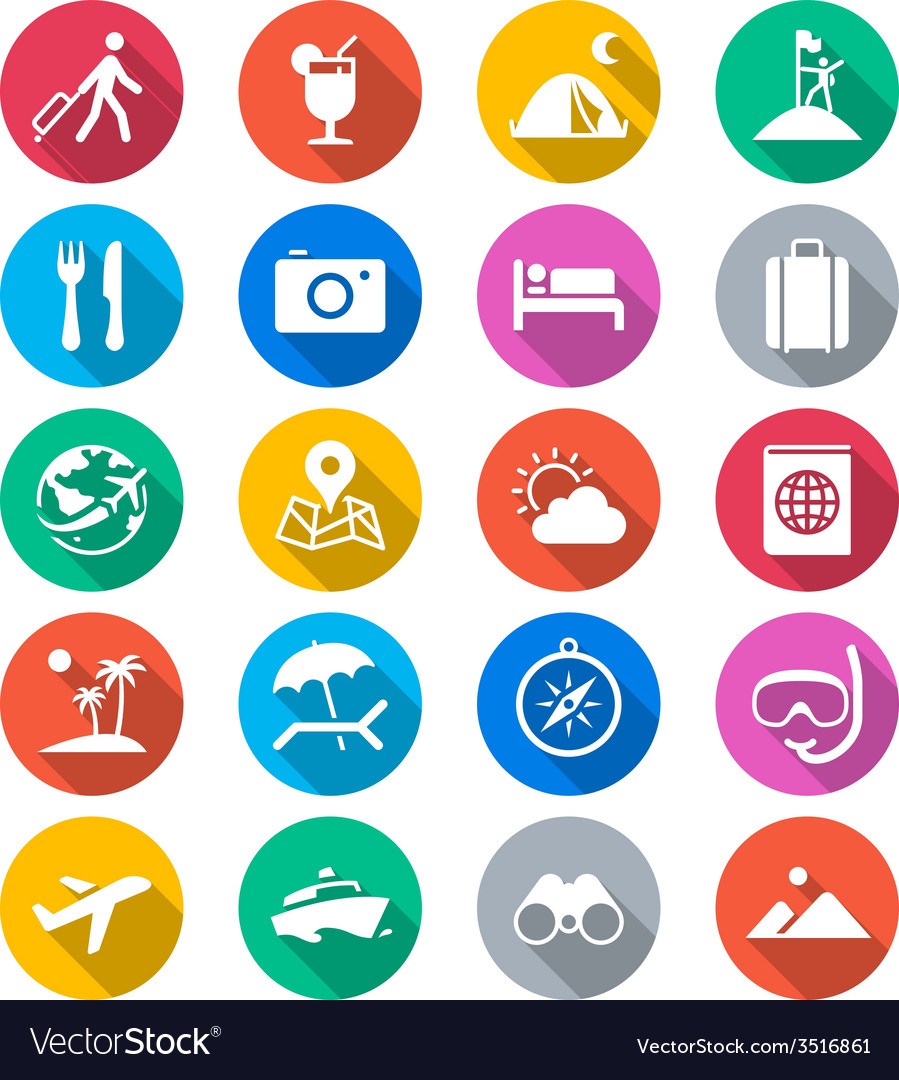 Traveling flat color icons vector | Price: 1 Credit (USD $1)