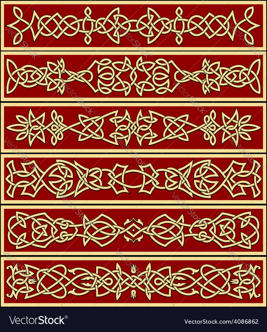 Borders and frames in celtic style vector | Price: 1 Credit (USD $1)