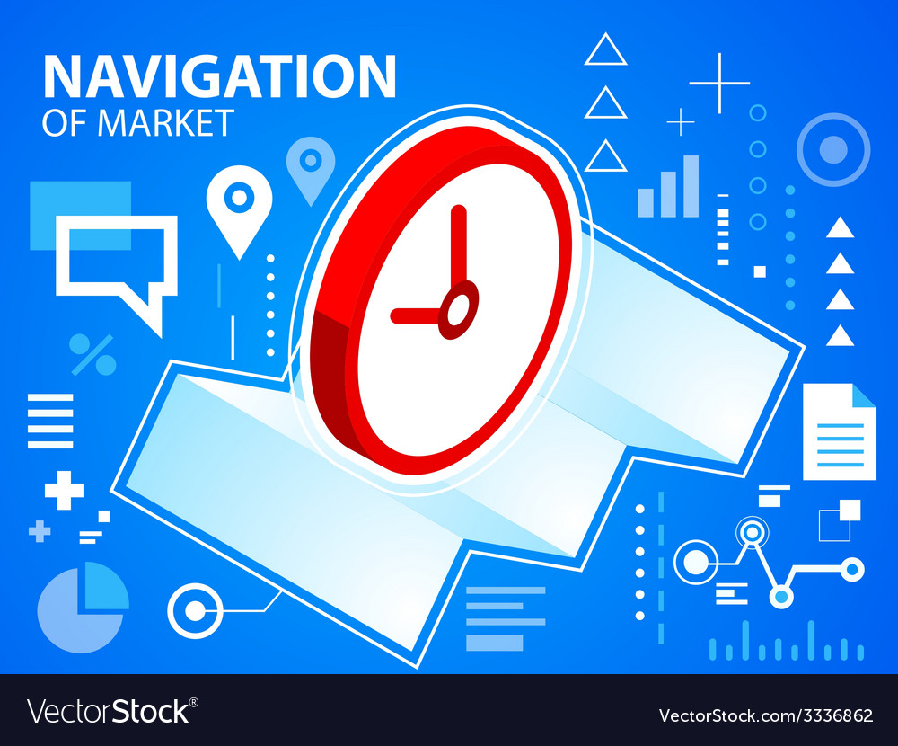 Bright navigate map and clock on blue backgr vector | Price: 3 Credit (USD $3)