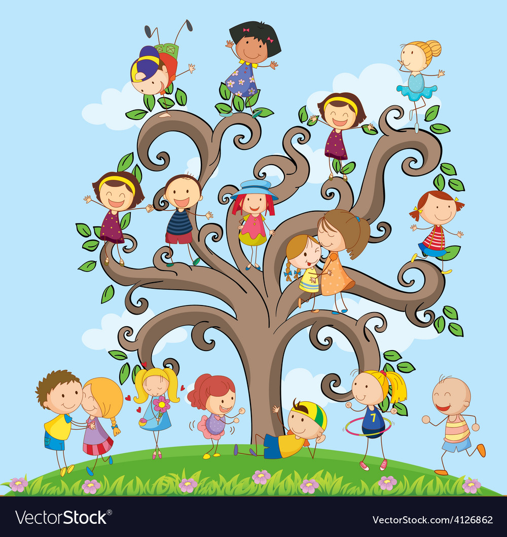 Children and tree vector | Price: 3 Credit (USD $3)