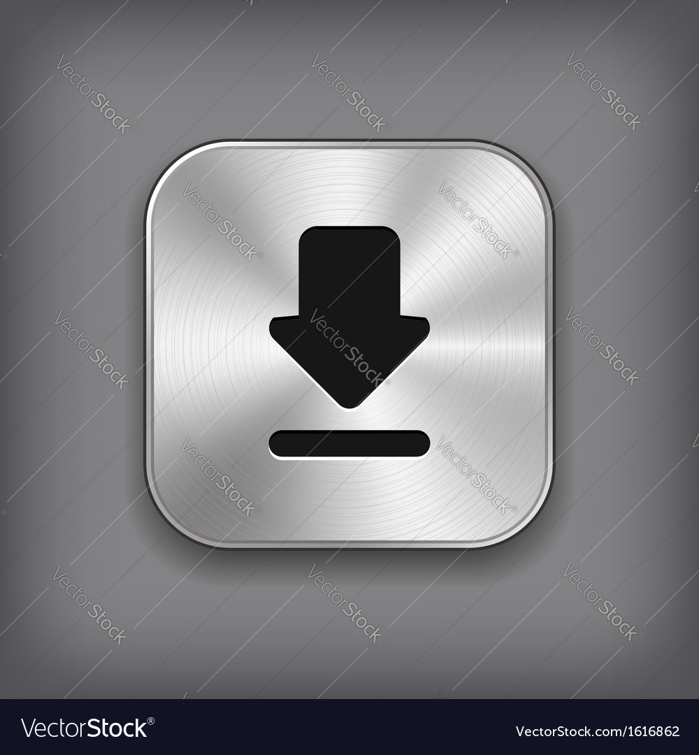 Download icon - metal app button vector | Price: 1 Credit (USD $1)