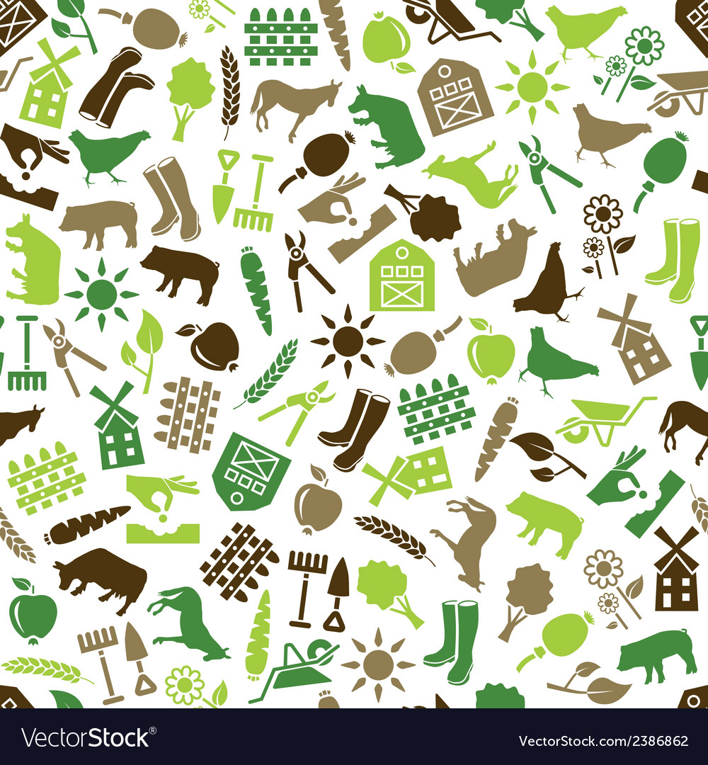 Farm seamless pattern vector | Price: 1 Credit (USD $1)