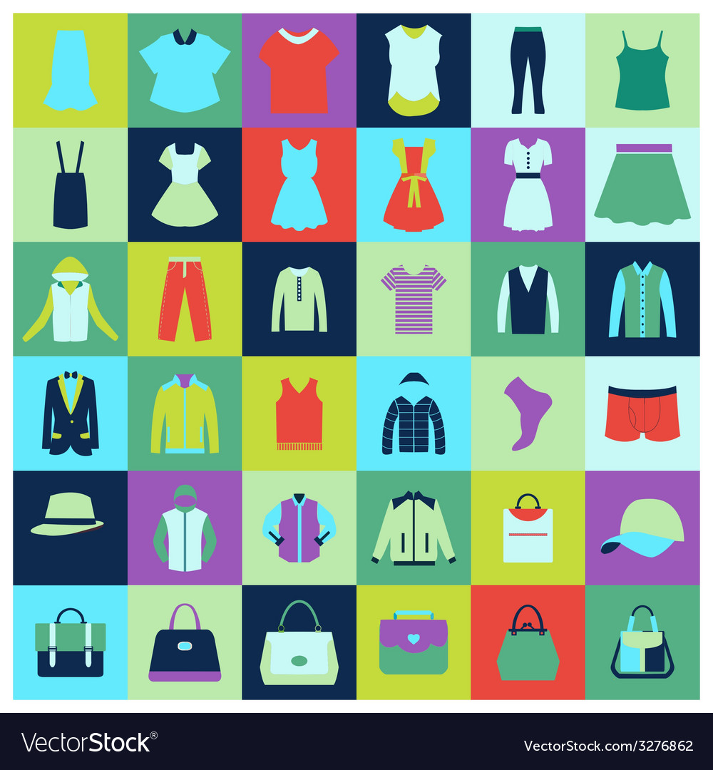 Flat icons set of fashion clothing and bags vector   Price: 1 Credit (USD $1)