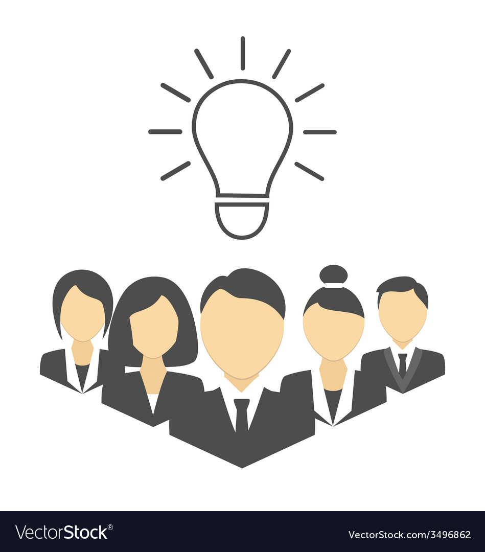 Flat portraits of staff with idea lamp isolated on vector | Price: 1 Credit (USD $1)