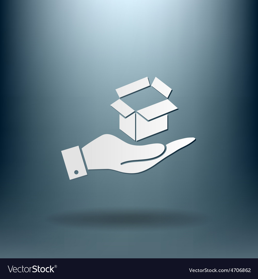 Hand holding a opened cardboard box vector | Price: 1 Credit (USD $1)