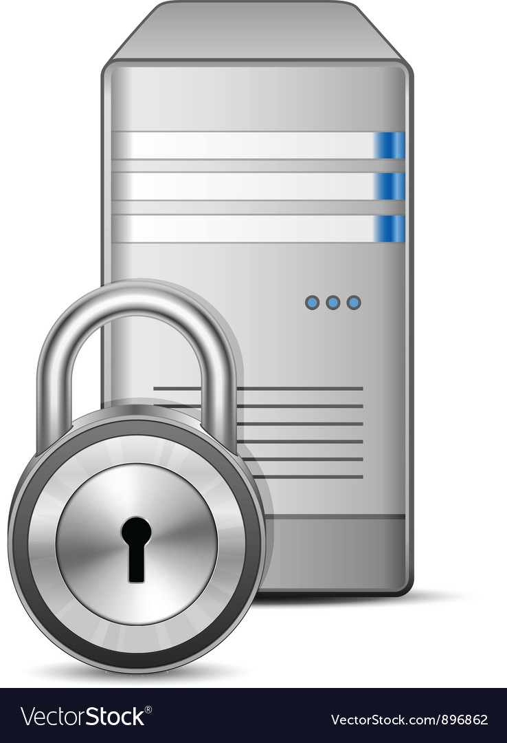 Protected computer server vector | Price: 3 Credit (USD $3)