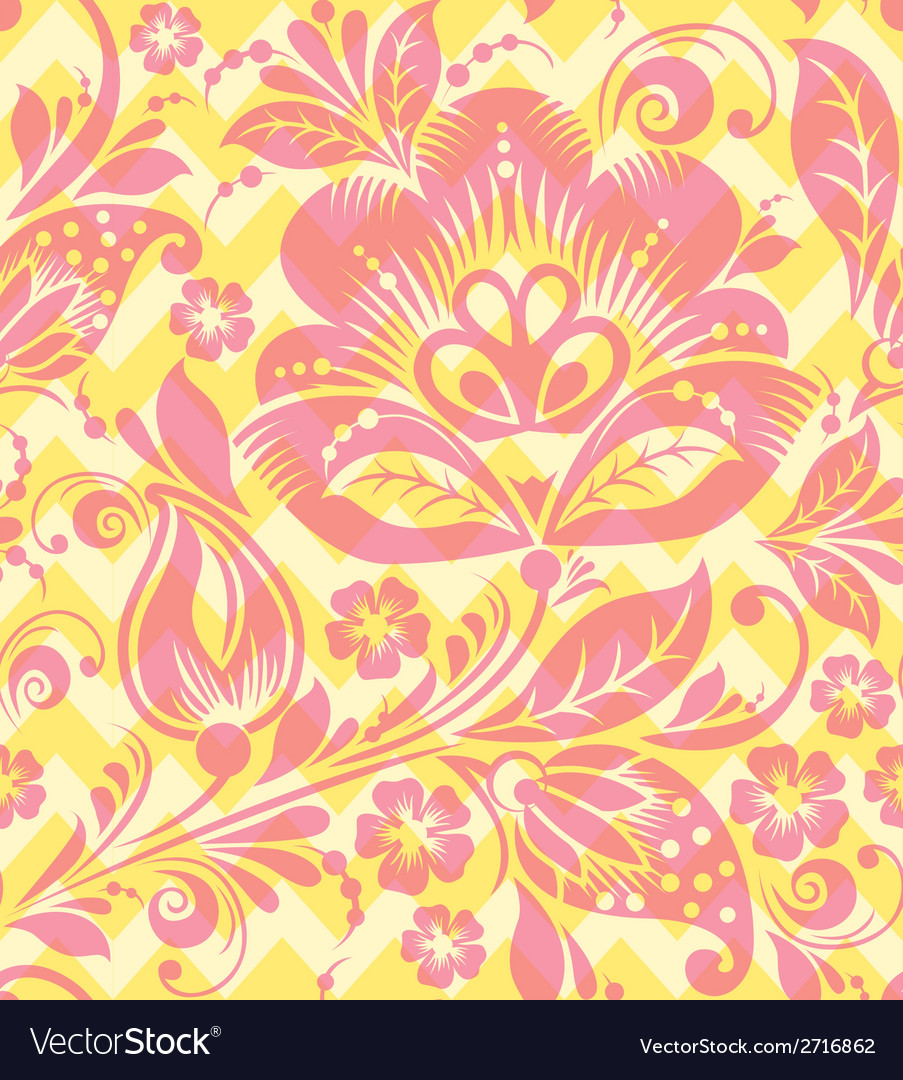 Seamless chevron floral background vector | Price: 1 Credit (USD $1)