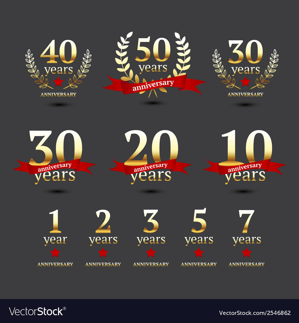 Set of anniversary golden signs vector | Price: 1 Credit (USD $1)