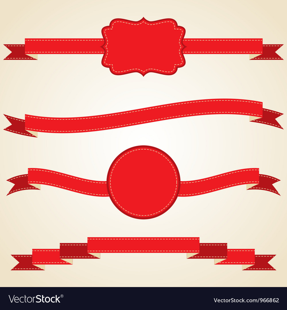 Set of curled red ribbons vector | Price: 1 Credit (USD $1)