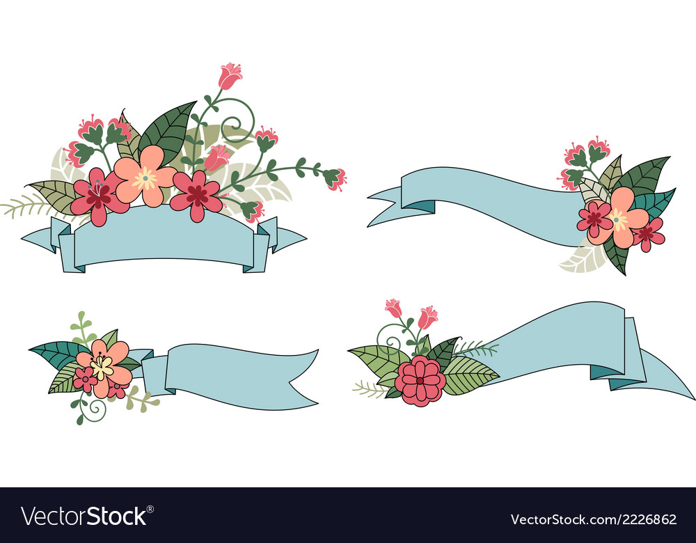 Set of ribbon with flower vector | Price: 1 Credit (USD $1)