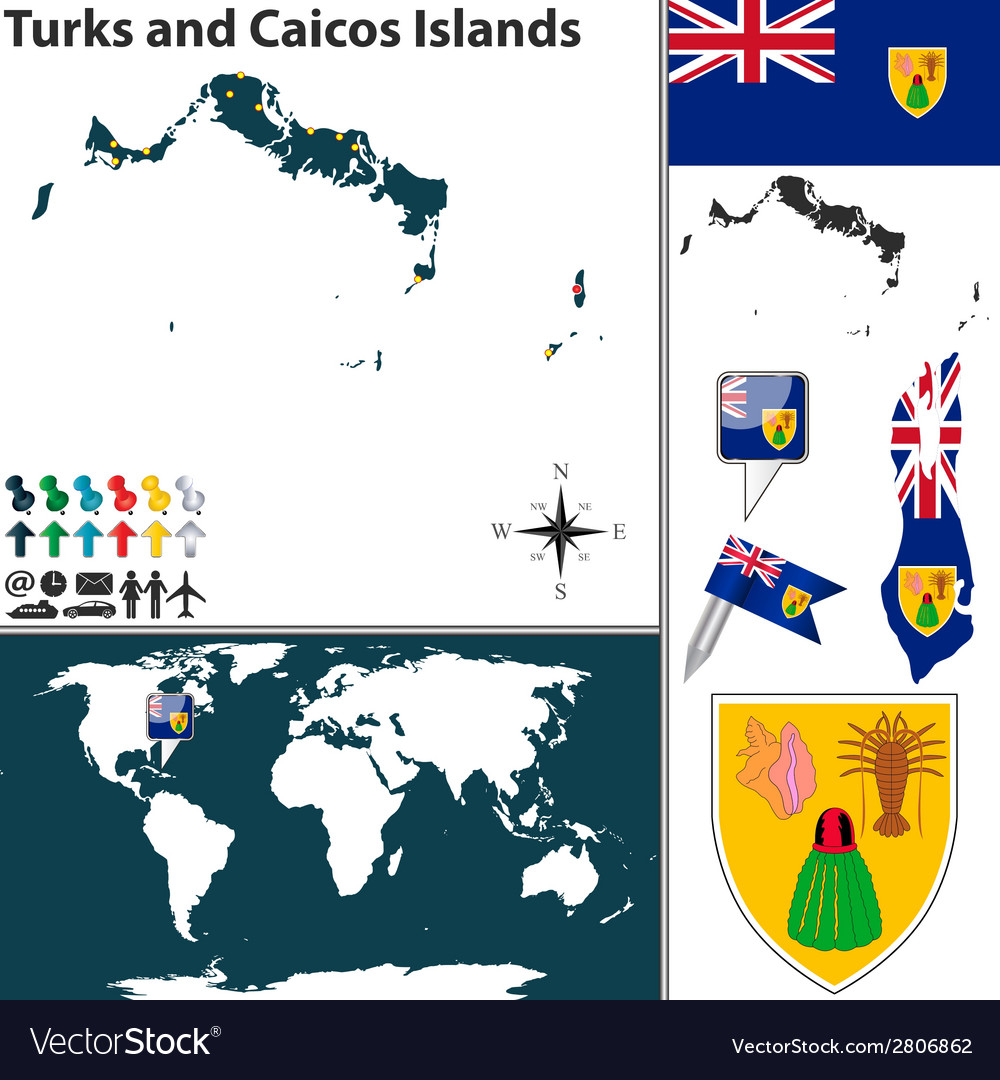 Turks and caicos islands map world vector | Price: 1 Credit (USD $1)