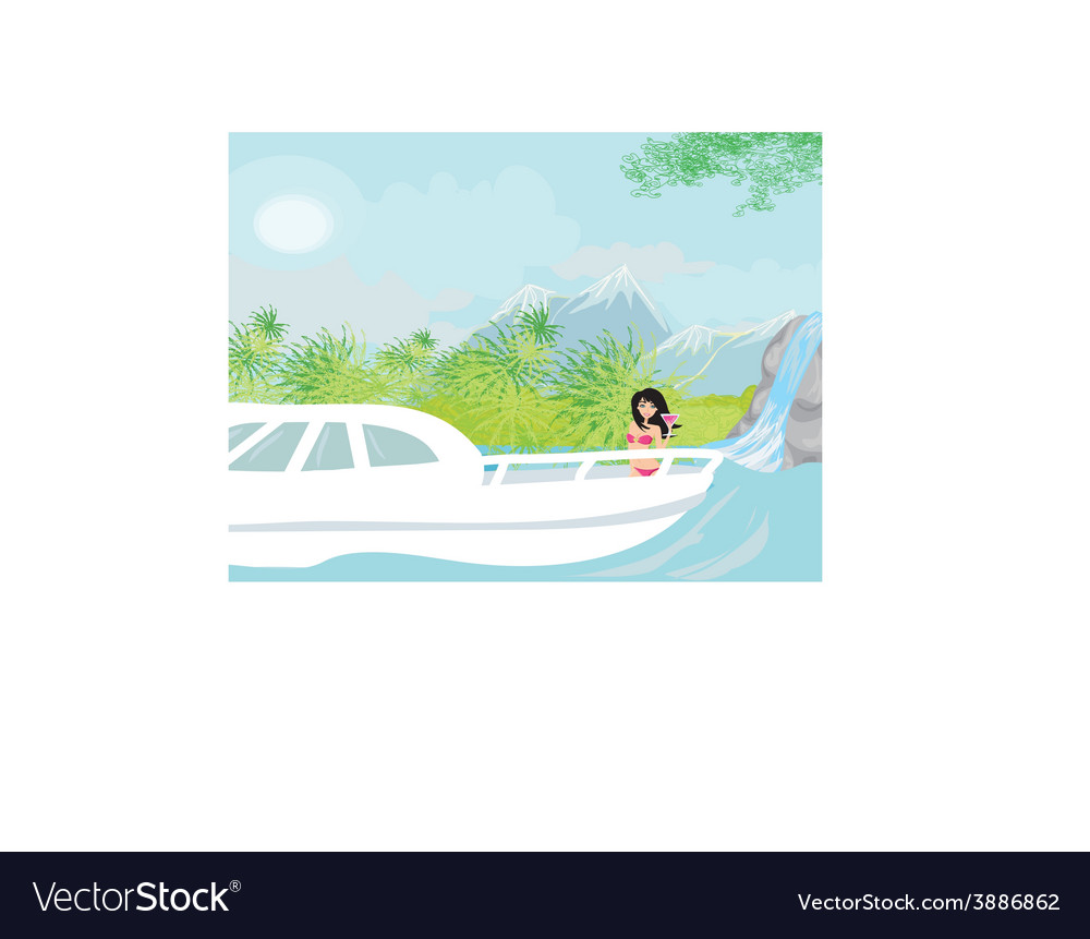 Young woman standing on yacht vector | Price: 1 Credit (USD $1)