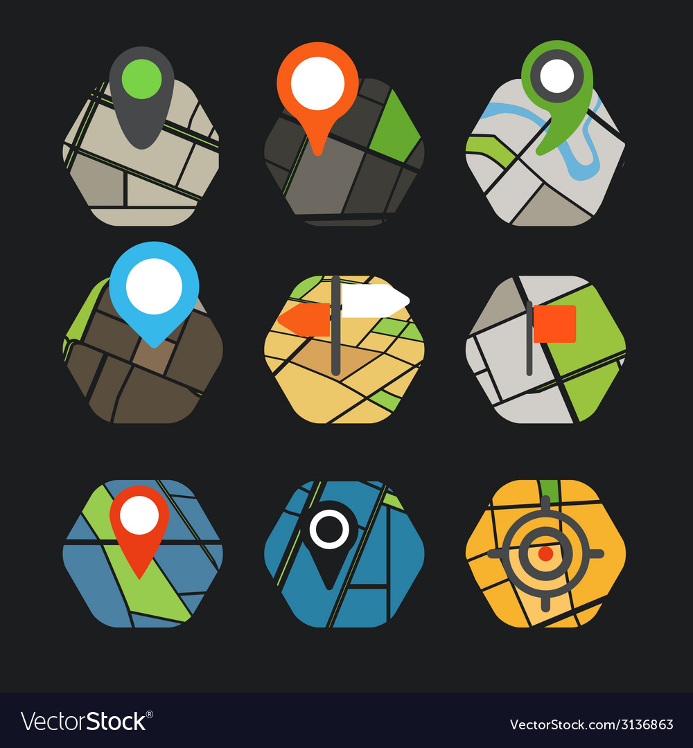 Abstract city map with symbols collection vector | Price: 1 Credit (USD $1)