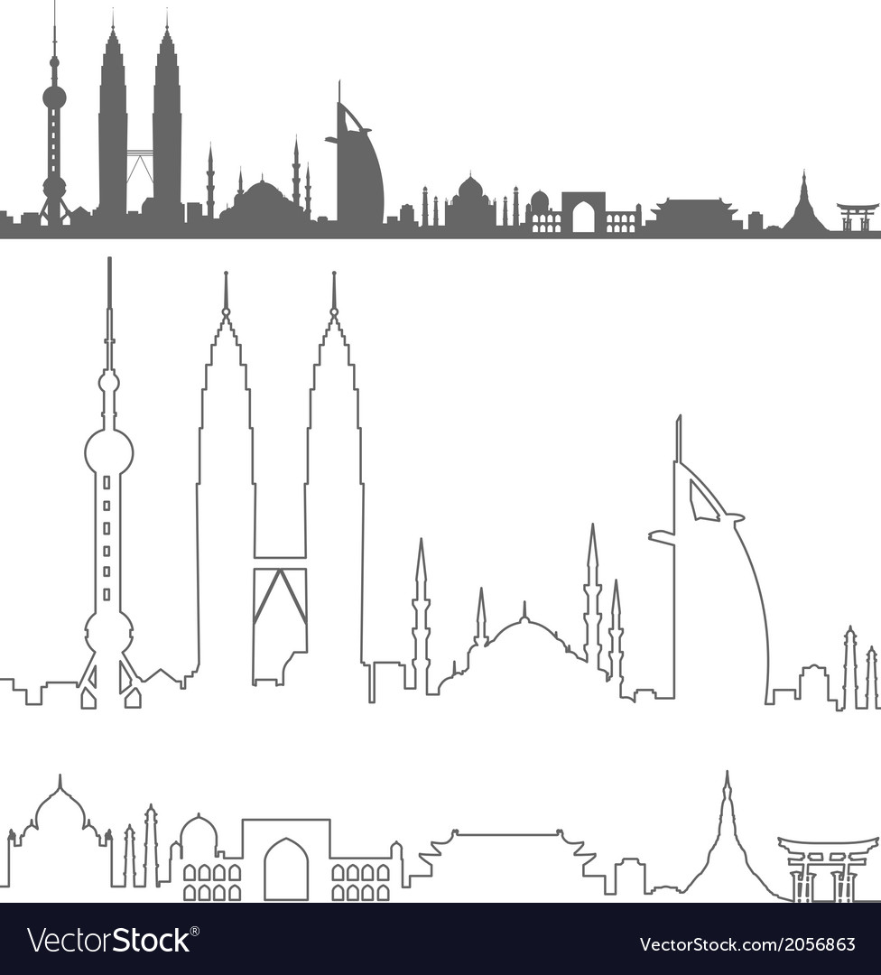 Asian landmarks profile vector   Price: 1 Credit (USD $1)