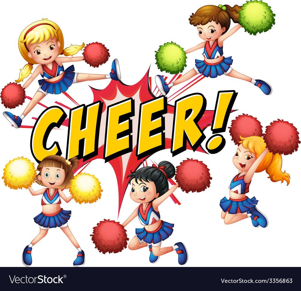 Cheerleaders vector | Price: 1 Credit (USD $1)