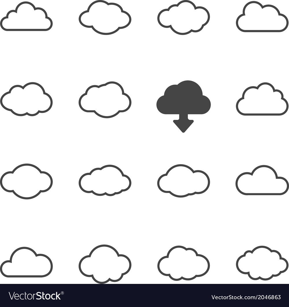 Cloud shapes set vector | Price: 1 Credit (USD $1)