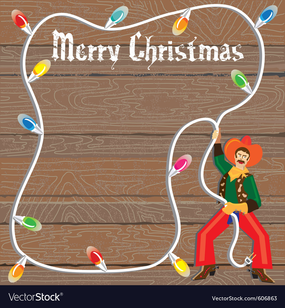 Cowboy with christmas lights lasso vector | Price: 3 Credit (USD $3)