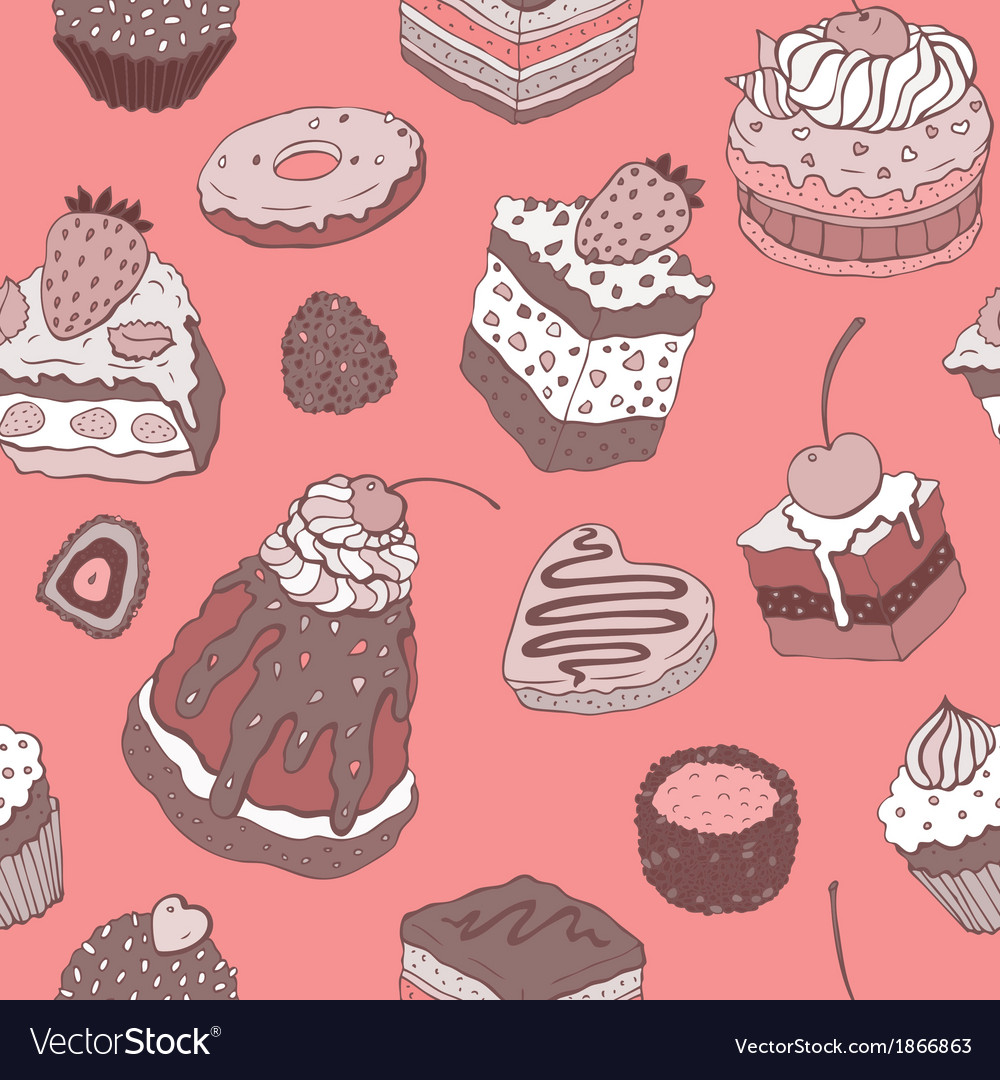 Cute cake seamless background vector | Price: 1 Credit (USD $1)
