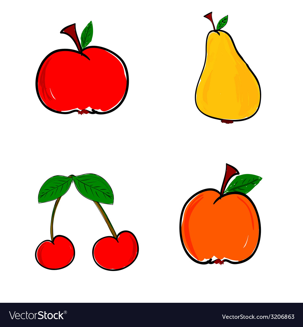 Fruit in color vector | Price: 1 Credit (USD $1)