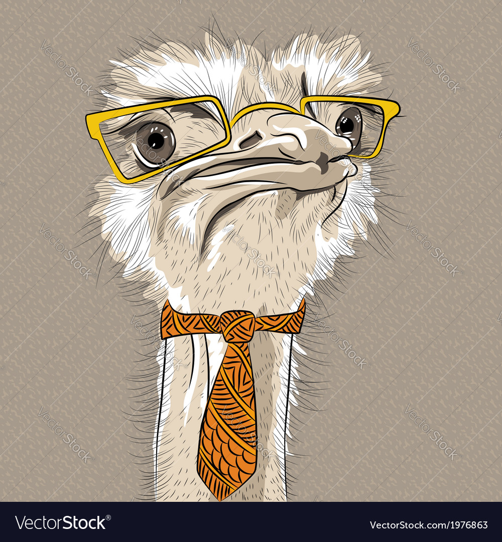 Funny ostrich bird hipster vector | Price: 1 Credit (USD $1)