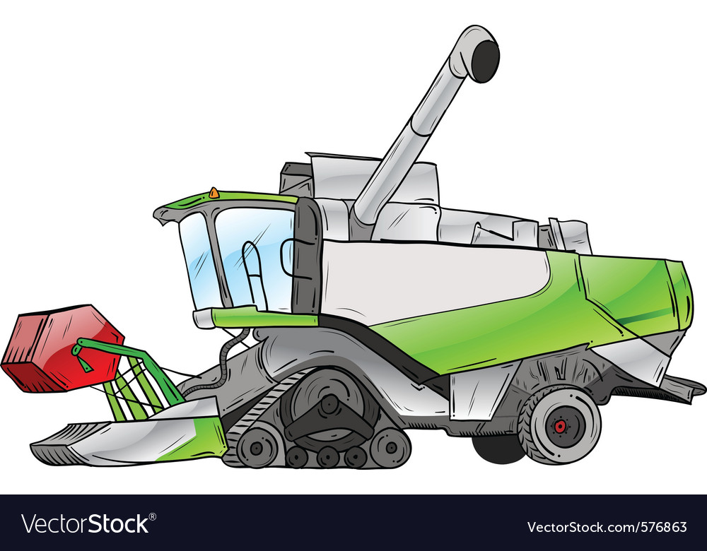 Green harvester isolated on the white vector | Price: 1 Credit (USD $1)