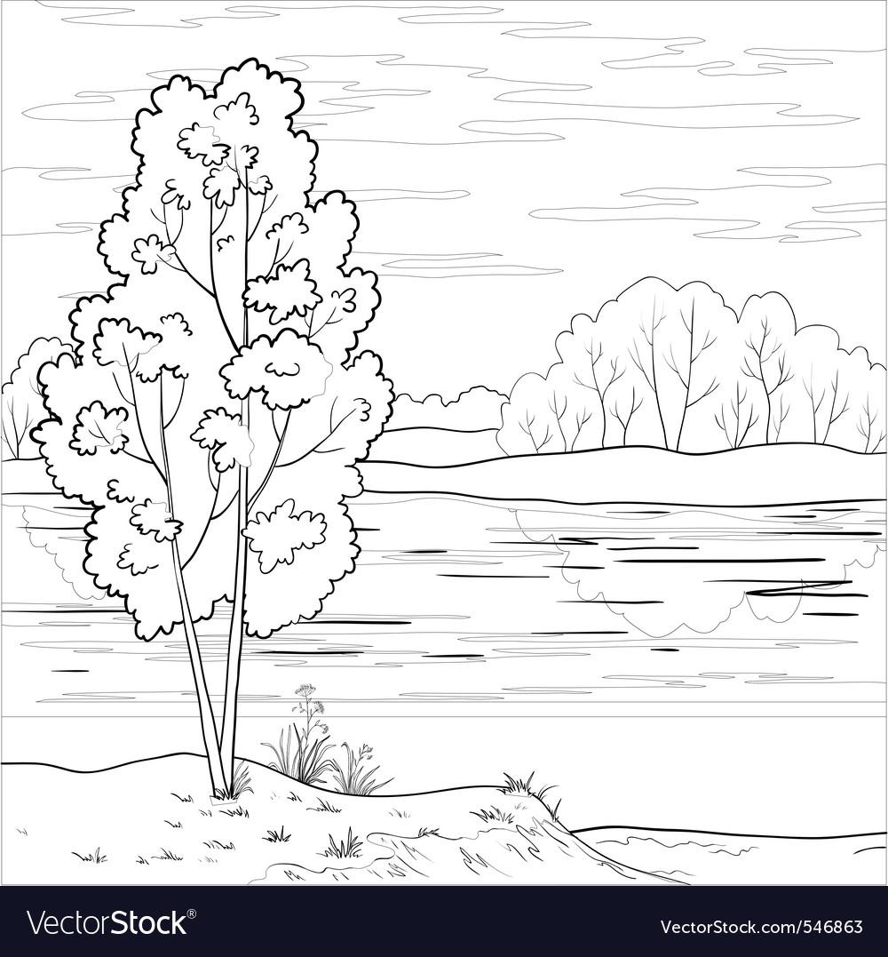 Landscape forest river outline vector | Price: 1 Credit (USD $1)