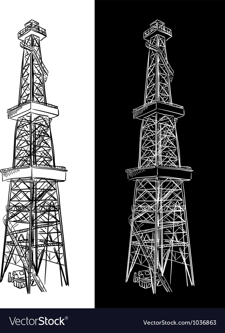 Oil rig sketch vector | Price: 1 Credit (USD $1)