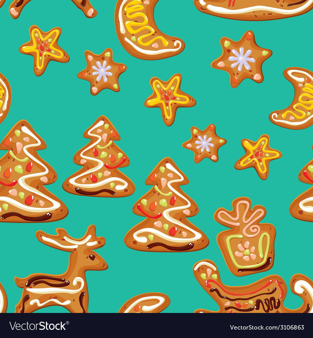 Seamless christmas pattern - xmas gingerbread on b vector | Price: 1 Credit (USD $1)