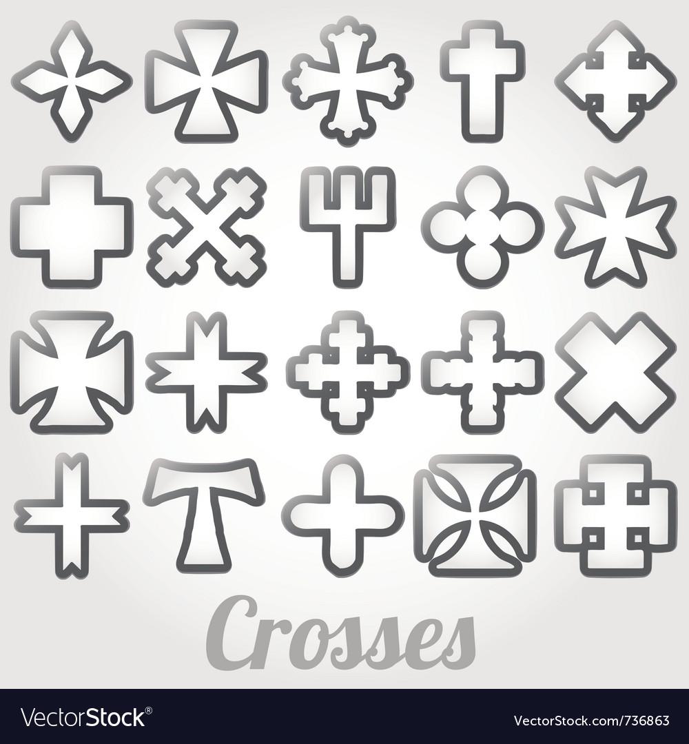Set crosses various religious symbols vector   Price: 1 Credit (USD $1)