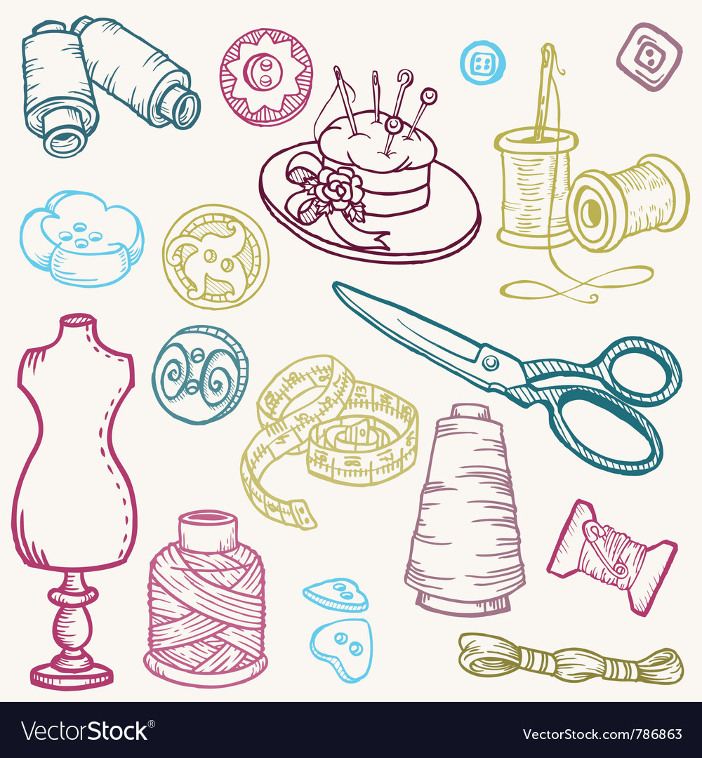 Sewing kit doodles vector | Price: 1 Credit (USD $1)