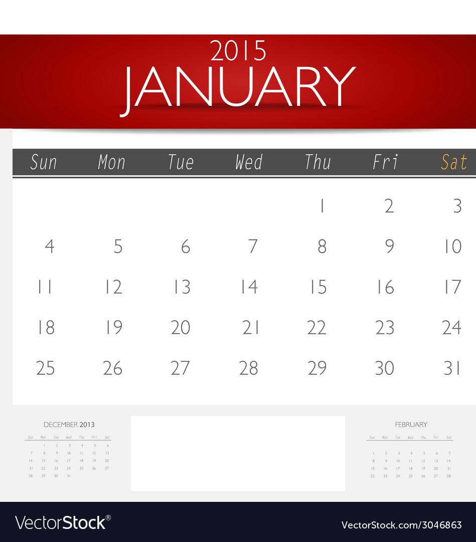 Simple 2015 calendar january vector | Price: 1 Credit (USD $1)