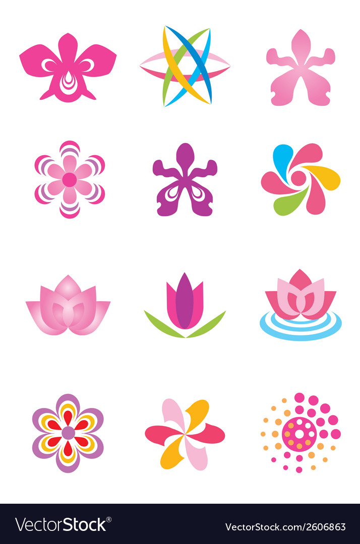 Symbols icons flowers vector | Price: 1 Credit (USD $1)