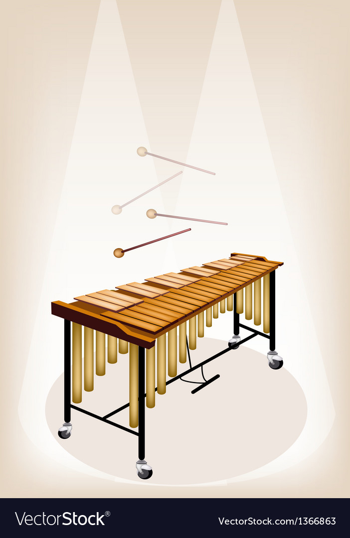 Two retro vibraphone on brown stage background vector | Price: 1 Credit (USD $1)