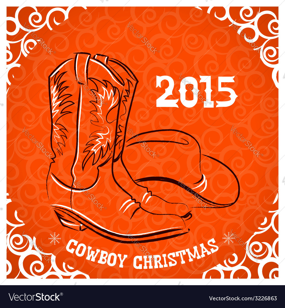 Western new year with cowboy boots and western hat vector | Price: 1 Credit (USD $1)