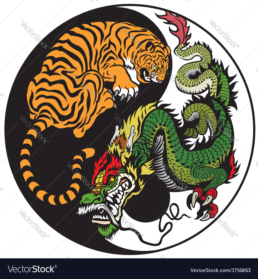 Yin yang dragon and tiger symbol vector | Price: 1 Credit (USD $1)
