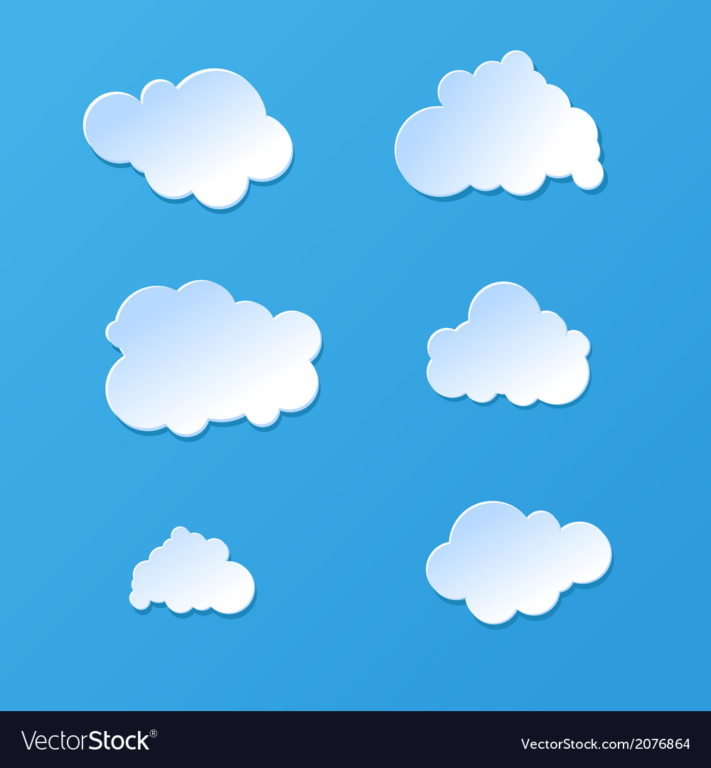 Cute cartoon paper or plastic cloud shapes on blue vector | Price: 1 Credit (USD $1)